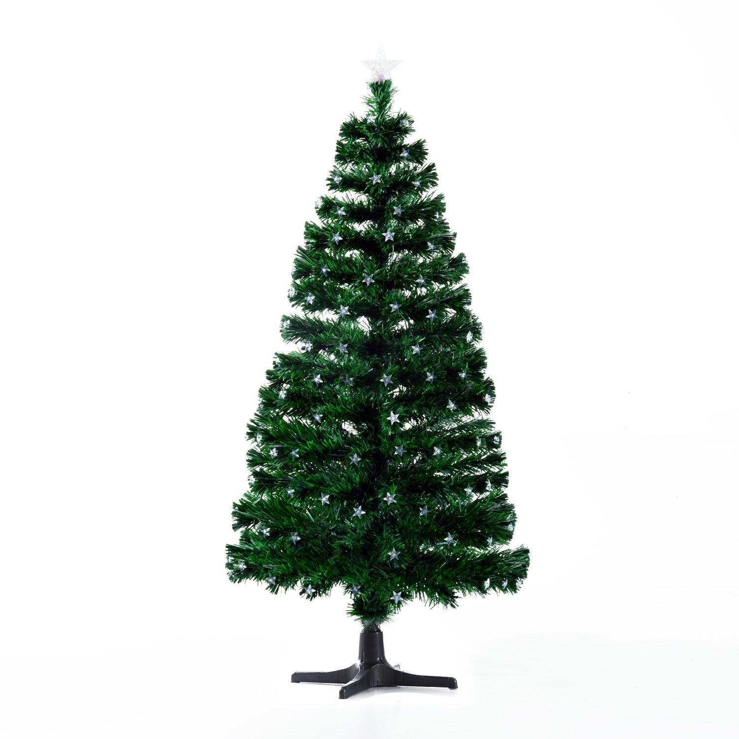 HomCom 7.5 Artificial Rotating Pre-Lit Multicolor Star LED Christmas Tree with Stand (7.5 Foot - Green - Metal/PVC)