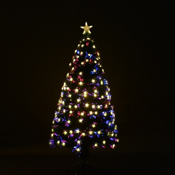 homcom 75 artificial pre lit red star led christmas tree with stand - Prelit Led Christmas Trees