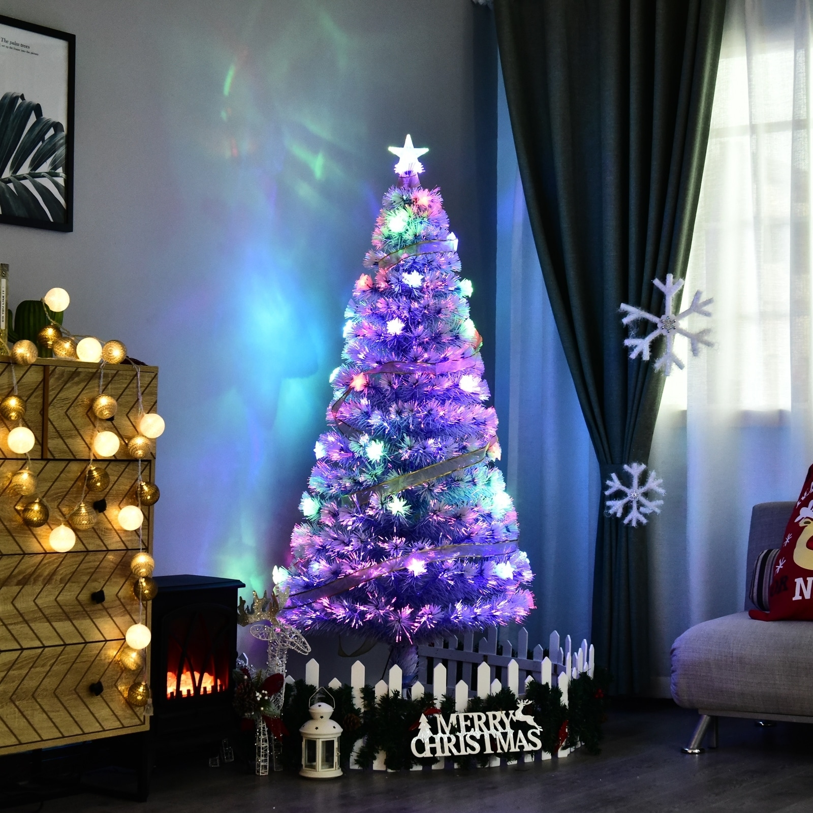 5 Tall Artificial Fiber Optic Led Pre Lit Holiday Christmas Tree White And Blue 180 Tips 20 Leds Overstock 18065854