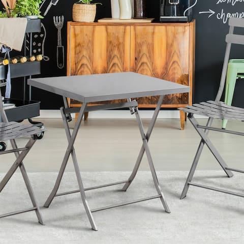 Furniture of America Gath Modern Silver Metal Square Bistro Table