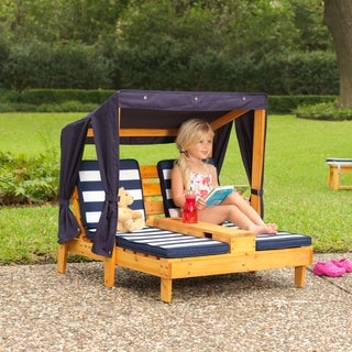 Double Chaise Lounger - Navy and White Stripes