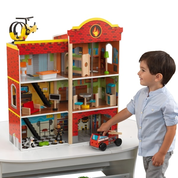 Shop Kidkraft 3 Story Wooden Fire Station Set Free Shipping Today
