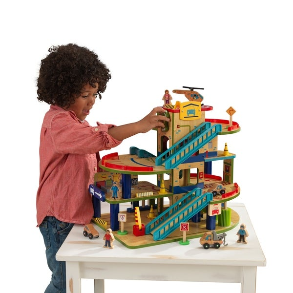 Shop Wash N Go Wooden Car Garage Free Shipping Today Overstock