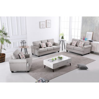 Audrey Mid Century Fabric Sofa Set - 3 pieces