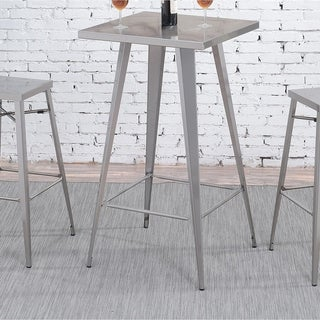 Furniture Of America Cordon Industrial Dark Grey Square 42 Inch Tall Bar  Table