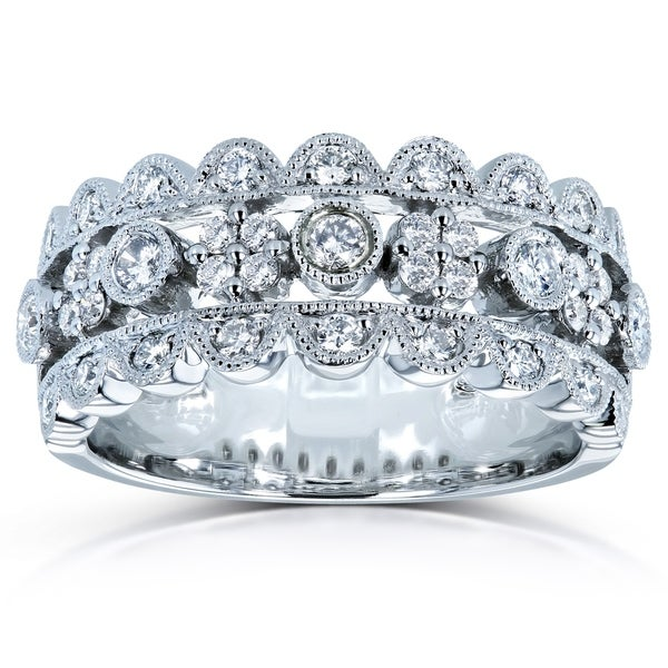 Annello by Kobelli 10k White Gold 1/2ct TDW Wide Band Diamond Anniversary Ring (15 Options)