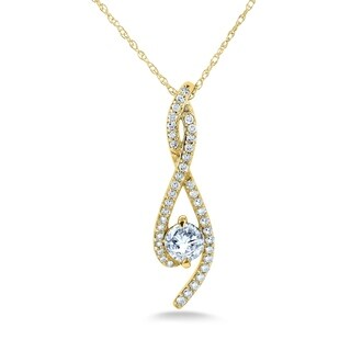 Annello by Kobelli 10k Gold 1/2ct TDW Diamond Ribbon Necklace (H-I, I1-I2)