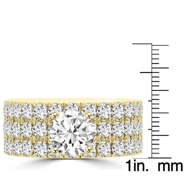 La Vita Vital 14K Yellow Gold Moissanite 1.00ct TGW & Diamond 2.25cts Ring - White