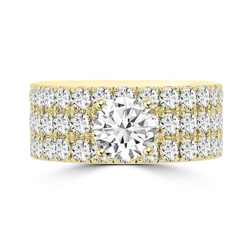 La Vita Vital 14K Yellow Gold Moissanite 1.00ct TGW & Diamond 2.25cts Ring - White