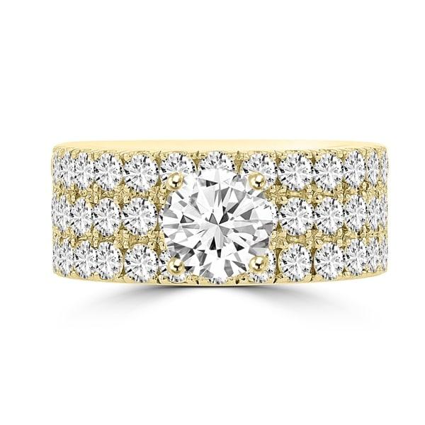 La Vita Vital 14K Yellow Gold Moissanite 1.00ct TGW & Diamond 2.25cts Ring - White. Opens flyout.