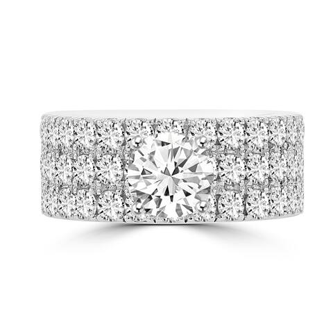 La Vita Vital 14K White Gold Moissanite 1.00ct TGW & Diamond 2.25cts Ring