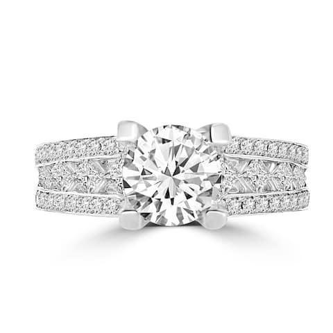 La Vita Vital 14K Gold Moissanite 1.00ct TGW & Diamond 0.95cts Engagement Ring - White