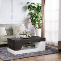 Furniture of America Marcell Contemporary White Wenge Two-tone Storage Coffee Table