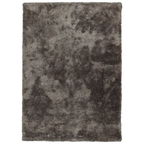 Hand-Tufted Silky Shag Taupe Polyester Rug - 3' x 5'