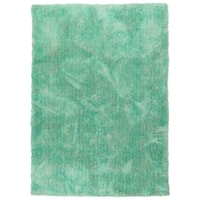 Hand-Tufted Silky Shag Turquoise Polyester Rug - 3' x 5'