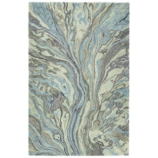 Artworks Blue Wool Hand-tufted Area Rug (3'6 x 5'6)