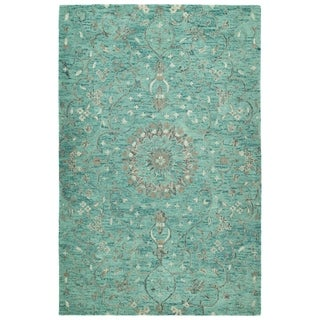 Ashton Turquoise Wool Hand-tufted Area Rug (4' x 6')