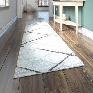 Porch & Den Williamsburg Iris Trellis Stripes Grey Runner Rug (2'5 x 9'5)