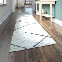 Porch & Den Williamsburg Iris Trellis Stripes Grey Runner Rug - 2' 5 x 9' 5