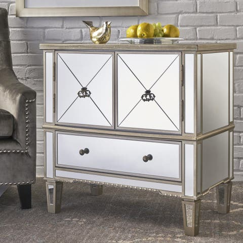 Ryanne Glam Mirrored 3 Drawer Cabinet with Faux Wood Frame by Christopher Knight Home