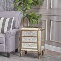 Nicos Mirrored 3-Drawer Cabinet by Christopher Knight Home