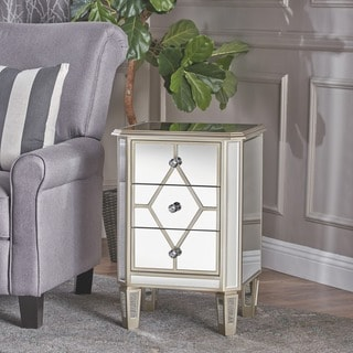 Soren Mirrored 3-Drawer Cabinet by Christopher Knight Home