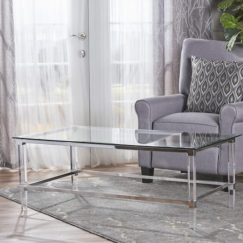 """Bayla Modern Rectangle Glass Coffee Table by Christopher Knight Home - 26""""L x 48""""W x 18""""H"""