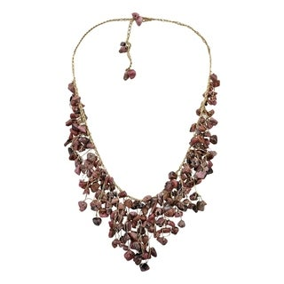 Link to Handmade Waterfall Earth Tones Jasper Braided Gold Silk Necklace (Thailand) Similar Items in Girls' Clothing