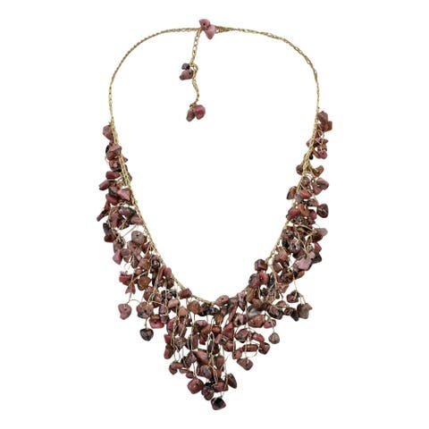 Handmade Waterfall Earth Tones Jasper Braided Gold Silk Necklace (Thailand)