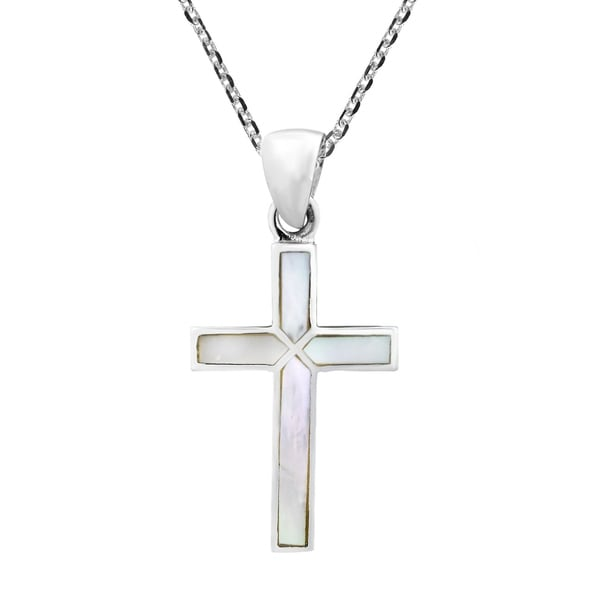 Handmade Cross of Faith Inlaid Mother of Pearl .925 Sterling Silver Necklace (Thailand) - White