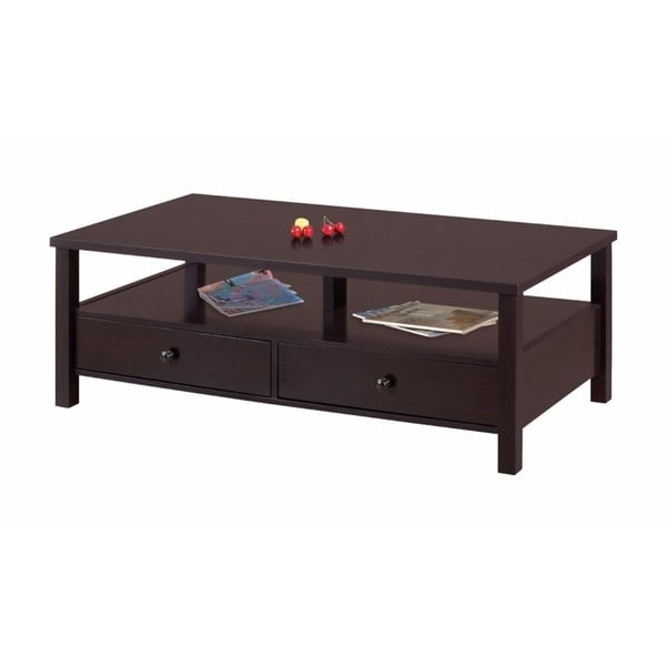 Benzara Simply Sophisticated Brown Wood Storage Coffee Table