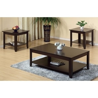 Benzara Brown Wooden Coffee and End Table 3-piece Set
