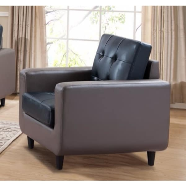 Classic PU Leather Sofa Chair With Button Back U0026amp; ...