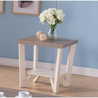 Well- Designed End Table With Display Shelf, White and brown