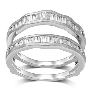 Unending Love 14k Gold 1/2 ctw Round and Baguette Diamond ( I-J Color, I2 Clarity ) Wrap Guard Ring