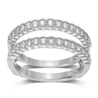 Unending Love 14k White Gold 1/2CT TDW Diamond Milgrain Wrap Guard Ring|https://ak1.ostkcdn.com/images/products/18067740/P24229859.jpg?impolicy=medium