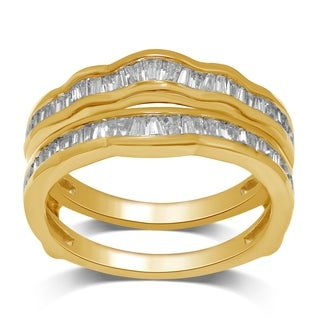 Unending Love 14k Yellow Gold 1/2ct TDW Round and Baguette Wrap Guard Ring