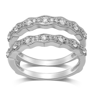 Unending Love 14k White Gold 1/2CT TDW Diamond Milgrain Wrap Guard Ring