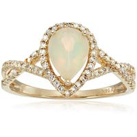 14k Yellow Gold Ethiopian Opal, Diamond Engagement Ring, Sz 7 - White