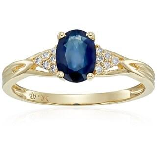 10k Yellow Gold Blue Sapphire, Diamond Classic Engagement Ring, Size 7