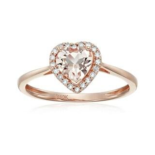 10k Rose Gold Morganite Diamond Heart Halo Engagement Ring, Size 7 - Pink