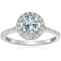 Ster Silver Aquamarine, Created White Sapphire Solitaire Ring, Size 7 - Blue