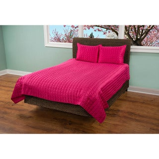 Rizzy Home Satinology Hot Pink 3-piece King Size Quilt Set (As Is Item)