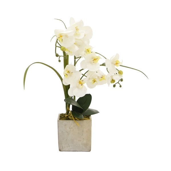 Faux Orchid Flower Pot White