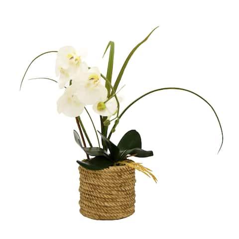 Faux Orchid Flower Pot - White