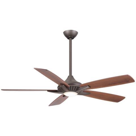 Dyno Led 52 Inch Led Ceiling Fan In Oil Rubbed Bronze Finish W/Medium Maple/Dark Walnut Blades