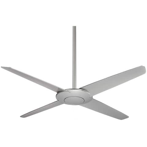"""Pancake 52"""" Ceiling Fan In Silver Finish W/Silver Blades"""