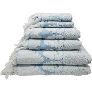 Nysa 100% Genuine Turkish Cotton Floral Ornament Jacquard Hand-Knotted Fringe 6-Piece Towel Set