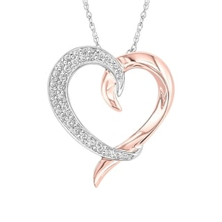 10K High Polish Rose and White Gold with 1/5CTTW Diamond Entwined Heart Pendant