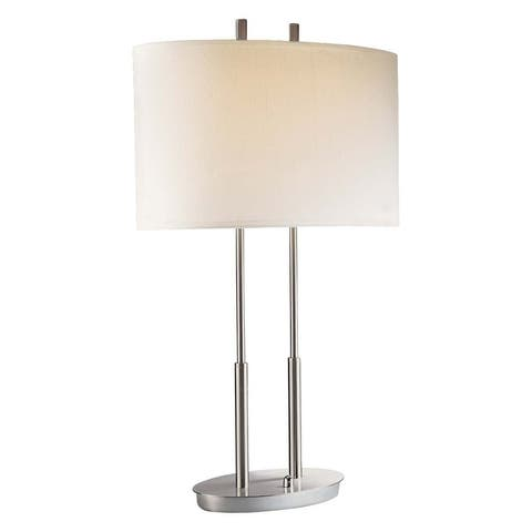 Brushed Nickel 2 Light Table Lamp by George Kovacs